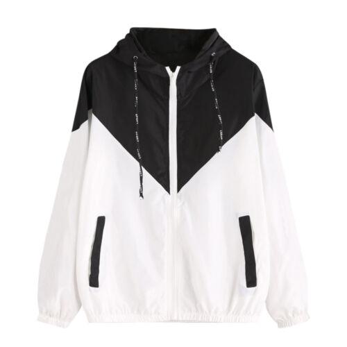Women Long Sleeve Pockets Jacket Hooded Zipper Sweatshirt Windbreaker Overcoat