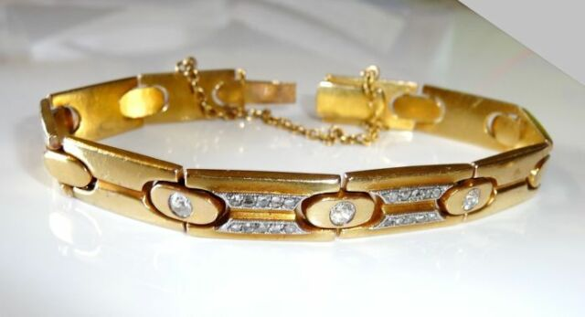 Art Deco Diamant-Armband 585 Gold mit ca. 0,85 ct. Diamanten G 1930,18,3 Gramm