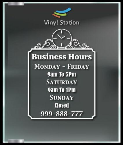 Very Elegant Custom Business Store Hours Window Decal Sticker Sign Door