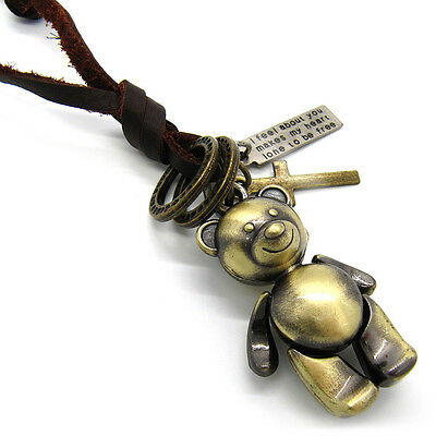 Teddy Bear Cross Pendant Genuine Leather Mens Ladies Choker Necklace Cord
