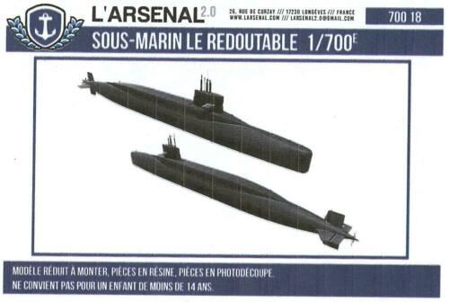 L/'Arsenal Models 1//700 LE REDOUTABLE SUBMARINE Resin /& Photo Etch Model
