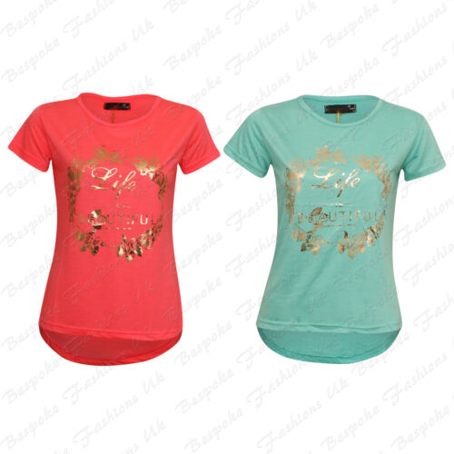TS-289 Ladies Women/'s Short Sleeve Life Is Beautiful Print Dip Back T-Shirt Top