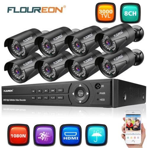 1080P HDMI HD 8CH AHD DVR 3000TVL Outdoor CCTV Home Security Camera System 1TB