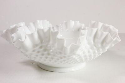 "Fenton Milk Glass Hobnail Ruffled Edge Console Bowl 11 5/8"" Diam 4 1/4"" Tall"