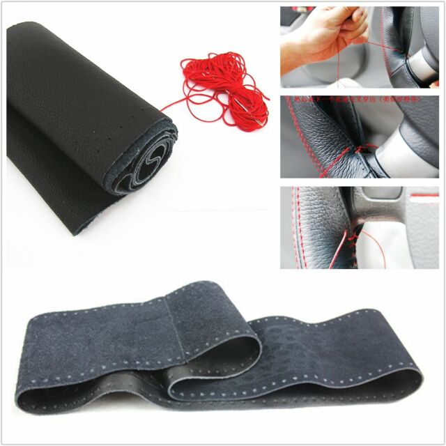 Soft Grip Genuine Leather Car DIY Steering wheel cover breathable Universal New