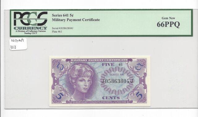 MPC Series 641  5 cents 2nd  printing  PCGS 66PPQ   GEM UNC