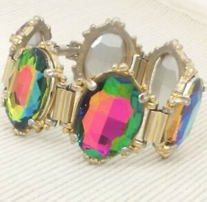 Vintage-Stunning-Statement-Watermelon-Rainbow-Glass-Goldtone-Bracelet