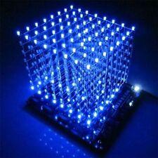 3D Squared DIY Kit 8x8x8 3mm LED Cube White LED Blue/Red Light PCB Board NEW LED