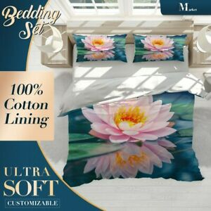 Lotus-Pond-Floral-Flowers-Pink-Duvet-Cover-Sets-with-2x-Matching-Pillowcases