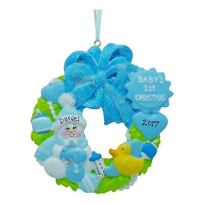 PERSONALIZED Baby Boy Wreath Baby's First Christmas ...