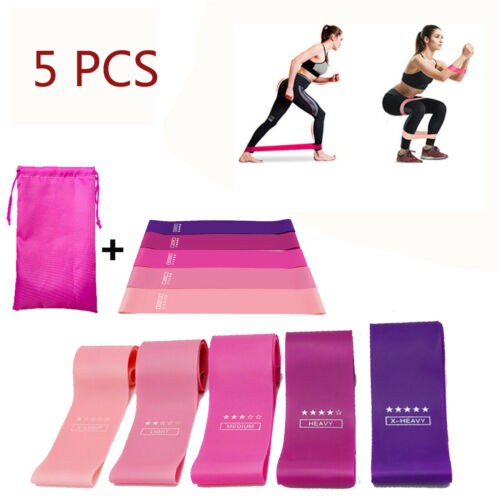 Exercise Resistance Bands Set Yoga Fitness Heavy Duty Latex Bands Home Gym 5PCS