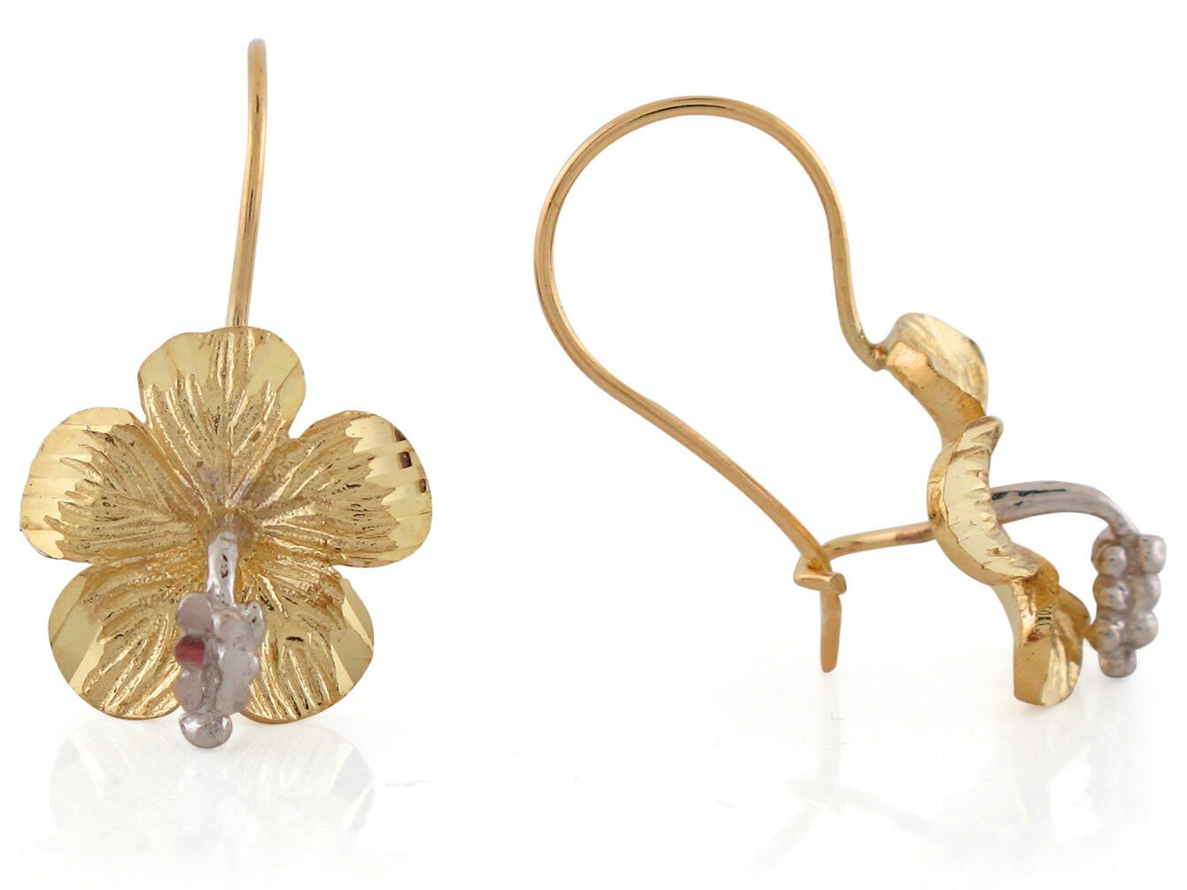 10k or 14k Two-Tone gold Gorgeous Hibiscus Flower Kidney Ear Wire Earrings