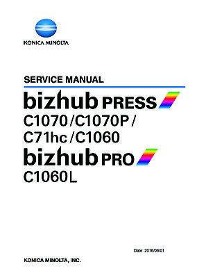 Service & Parts Manual Konica Minolta bizhub C1070 C1070P C71hc C1060 PRO  C1060L | eBay