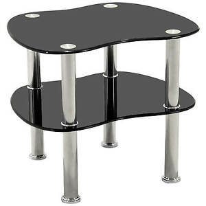 Chrome Amp Glass End Lamp Small Side Coffee Table Black
