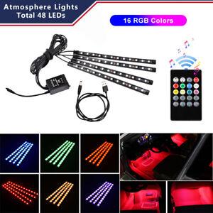 4x-48-LED-RGB-Car-Interior-USB-Atmosphere-Floor-Light-Strip-Music-Remote-Control
