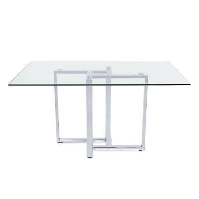 Mesa de comedor moderna mesa de diseño económica Acero Cromado y Cristal