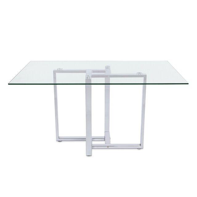 Mesa de comedor moderna mesa de diseño  Acero Cromado y Cristal, Verona