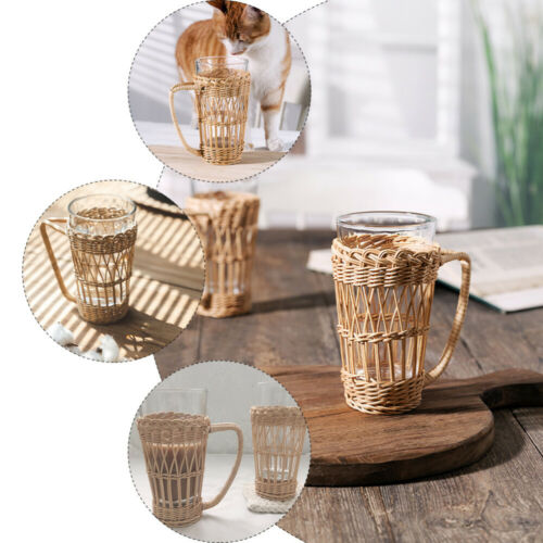 1pc Bottle Sleeve Cup Sleeve Cup Rattan Weaving Sleeve Cup Holder with Handle