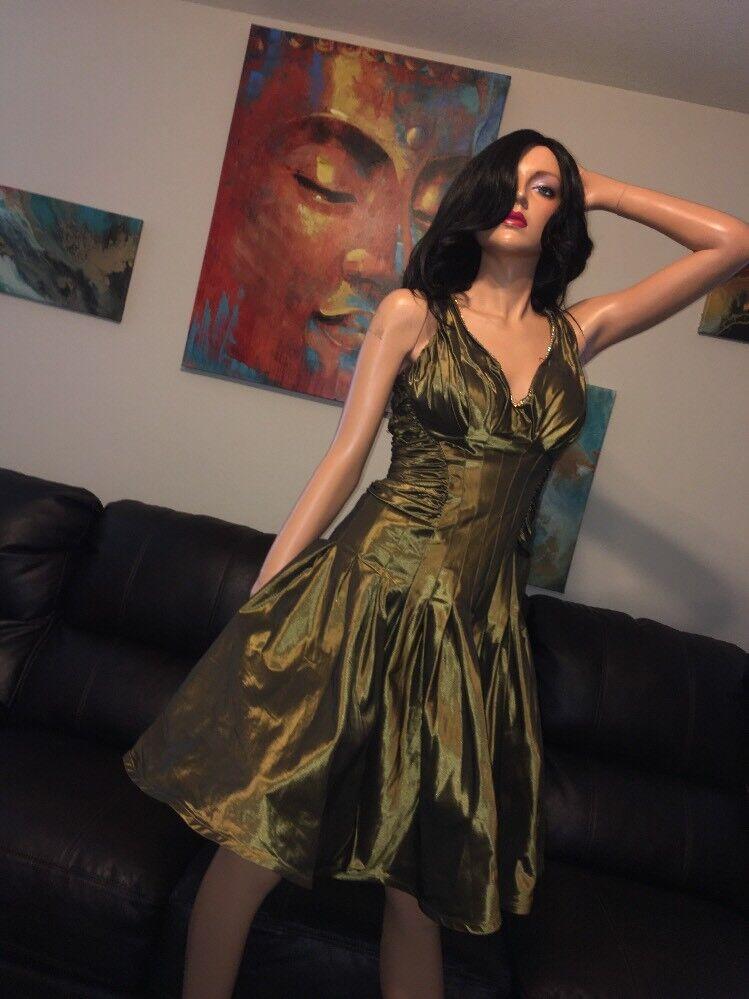 Tadashi Collection Bronze Bronze Bronze Metallic Stunning Ruched Side Dress Size 6 d91e68