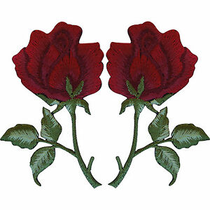 Pair of Red Roses Patches Iron On / Sew On Embroidered Rose Flower Patch Badge
