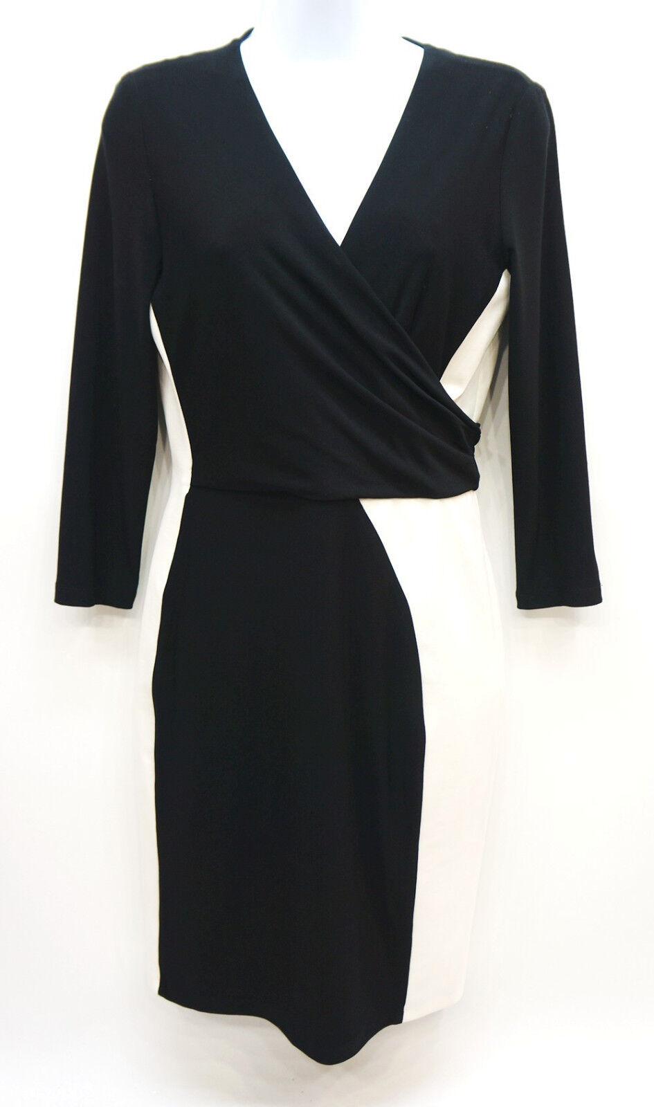 Ralph Lauren schwarz Farbeblocked Faux Wrap Sheath Dress Woherren 4