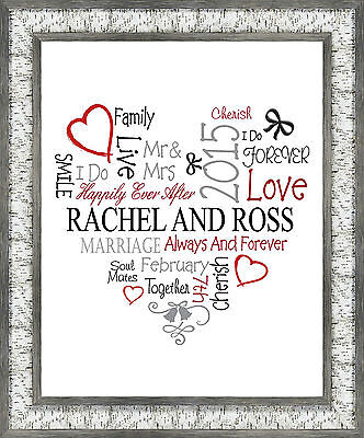 Wedding Print Personalised Word Art  Gift Marriage Anniversay A4 Size