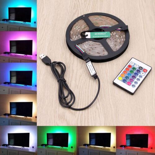 USB 5V 5050 60LED//M RGB LED Strip Light TV Back Lighting Kit 24 Key IR Remote