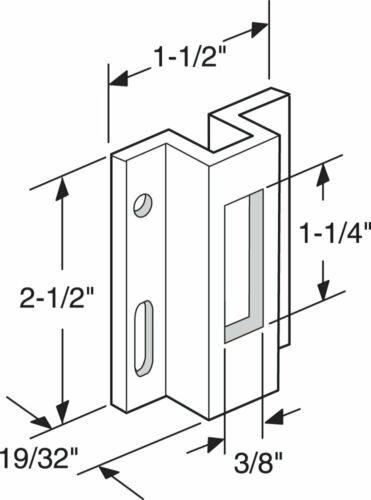 For Hook Style Latch Extruded Aluminum Prime-Line E 2124 Sliding Door Keeper