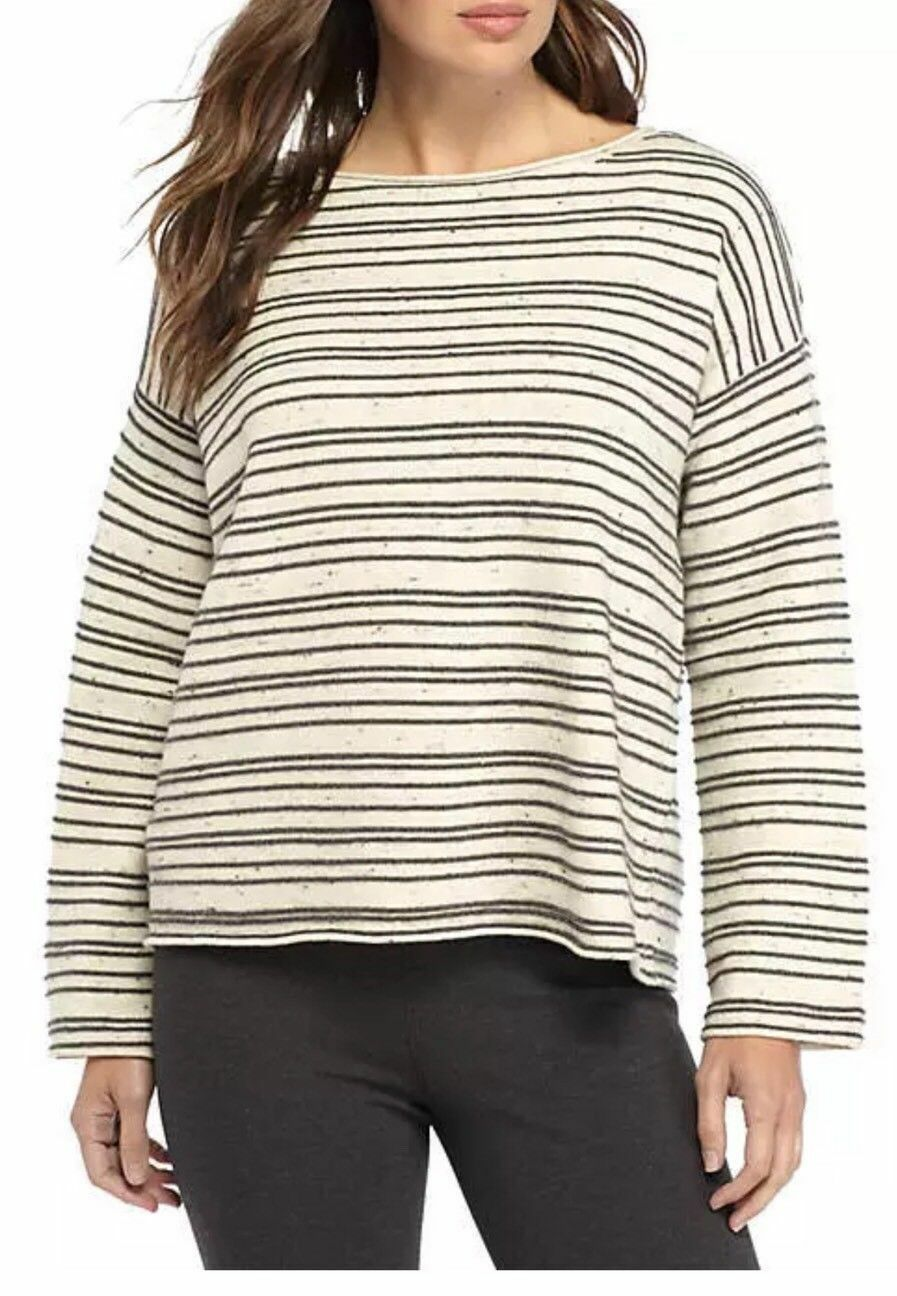 Eleen Fisher L Pepperot Organic Cotton Wool Maple Oat Bateau Neck Top NWT