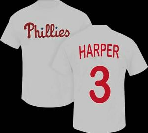 finest selection 2a929 441ed Details about Bryce Harper Philadelphia Phillies #3 MLB Jersey front and  back White T-Shirt