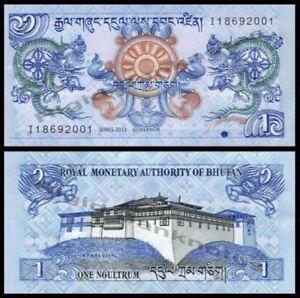 Bhutan 1 Ngultrum 2013 (UNC) 全新 龙钞 不丹 1努尔特鲁姆纸币 2013年