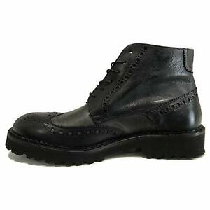 nero fondo cuoio e gomma Eveet 15504  scarpa allacciata in pelle testa di moro