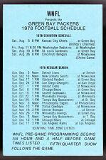 1978 GREEN BAY PACKERS WNFL RADIO 1440 AM FOOTBALL POCKET SCHEDULE FREE SHIP
