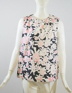 MARNI-Black-Pink-White-Floral-Print-Cotton-Sleeveless-Back-Zip-Blouse-Top-IT-44