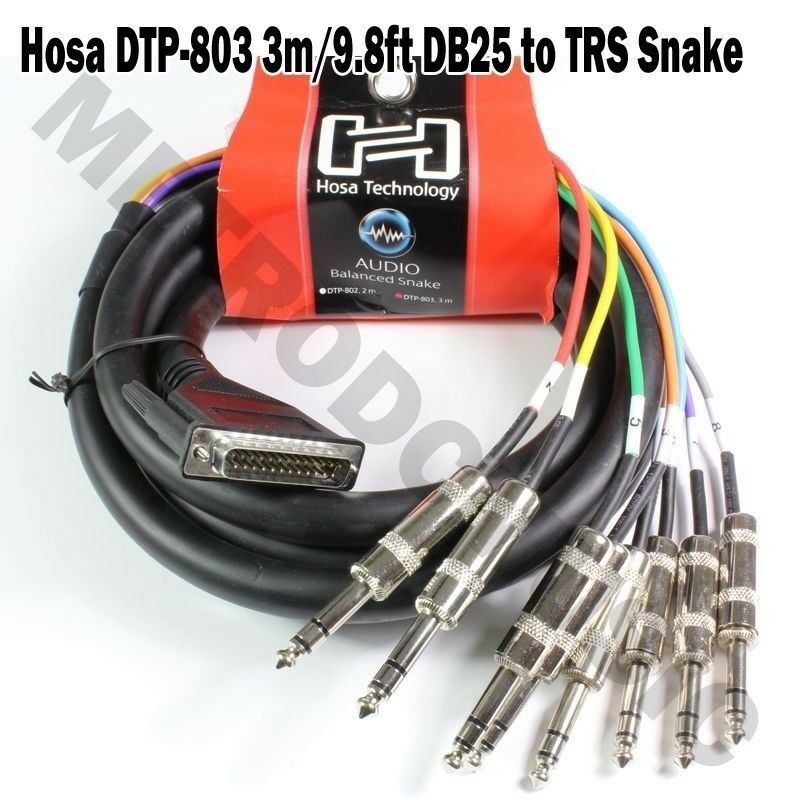 Hosa DTP-803 3m 9.8ft Snake Cable 8-Channel DBM25 > 1/4