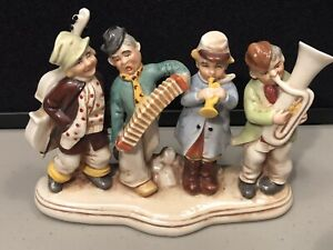 Porcelain-German-Grafenthal-Musicians-Band-Cello-Accordion-Horn-Red-Mark