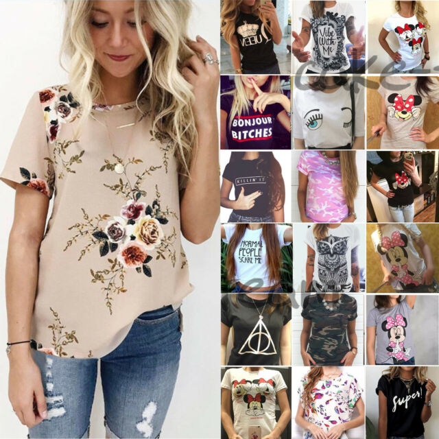 Summer Women Casual Tops Blouse Short Sleeve Crew Neck Floral T-Shirt Ladies Tee