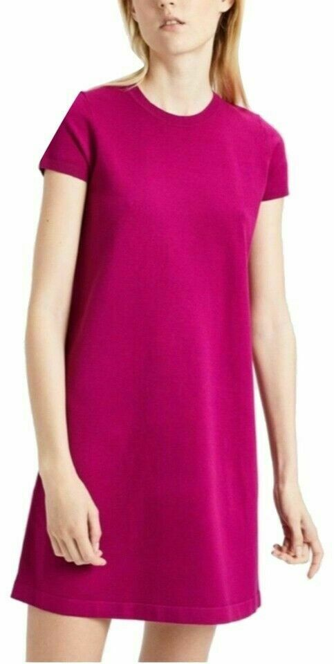 Theory Shift Woherren Dress Medium M Empire Electric Rosa Knit Short Sleeve