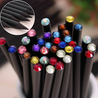 2Pcs Student Blackwood HB Pencil With Small Wooden Crystal Writing Stationery