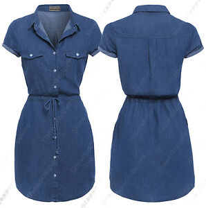 NEW-Womens-Longline-Denim-Shirt-Dress-Ladies-Jean-Dress-Blue-Size-10-12-14-18-8