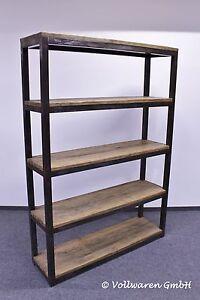 vintage teak stahl b cherregal 140cm loft industrie design raumteiler regal ebay. Black Bedroom Furniture Sets. Home Design Ideas
