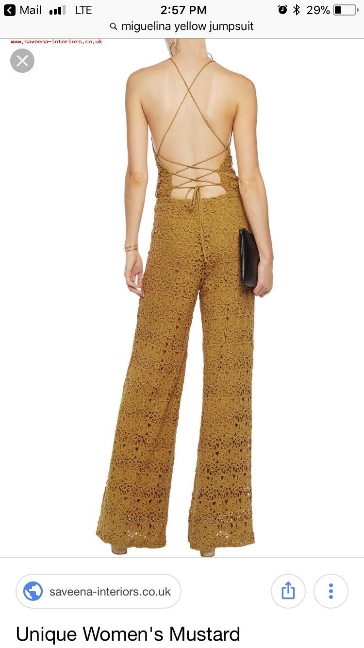 598 MIGUELINA Delphine Halter Yellow Jumpsuit    Embroidered Cotton Lace S NWT 1f458c