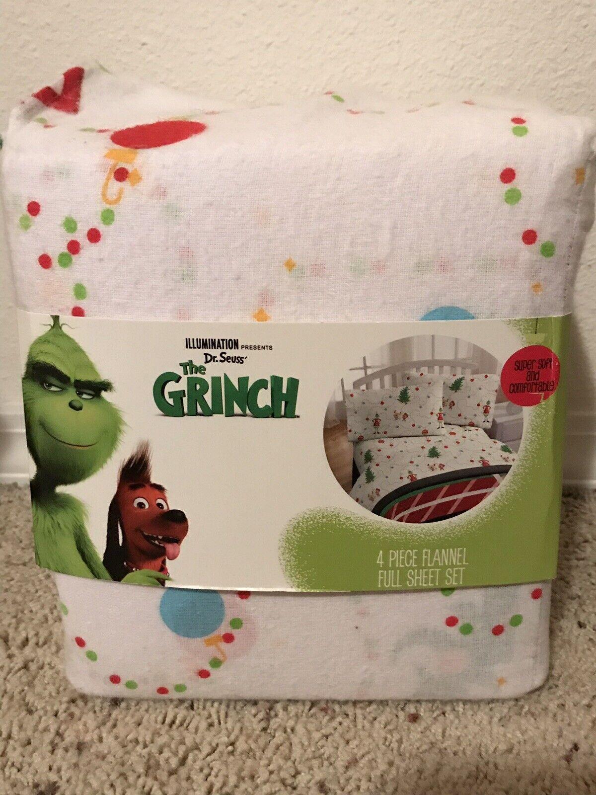 Le Grinch FULL SHEET Set 4 pièces FLANELLE Feuille Set Brand New