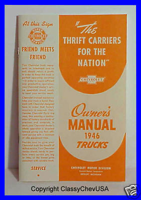 1946 Chevrolet Pickup Truck Owners Manual User Guide Reference Operator Book OEM