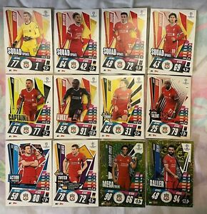 MATCH ATTAX EXTRA 2020/21 TEAM SET OF 12 LIVERPOOL CARDS INC FOILS