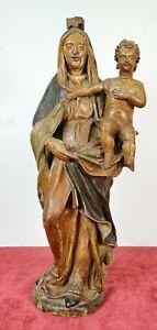VIERGE-MARIE-AVEC-ENFANT-SCULPTURE-BOIS-SCULPTE-TISSU-ET-STUC-ESPAGNE-XVIII