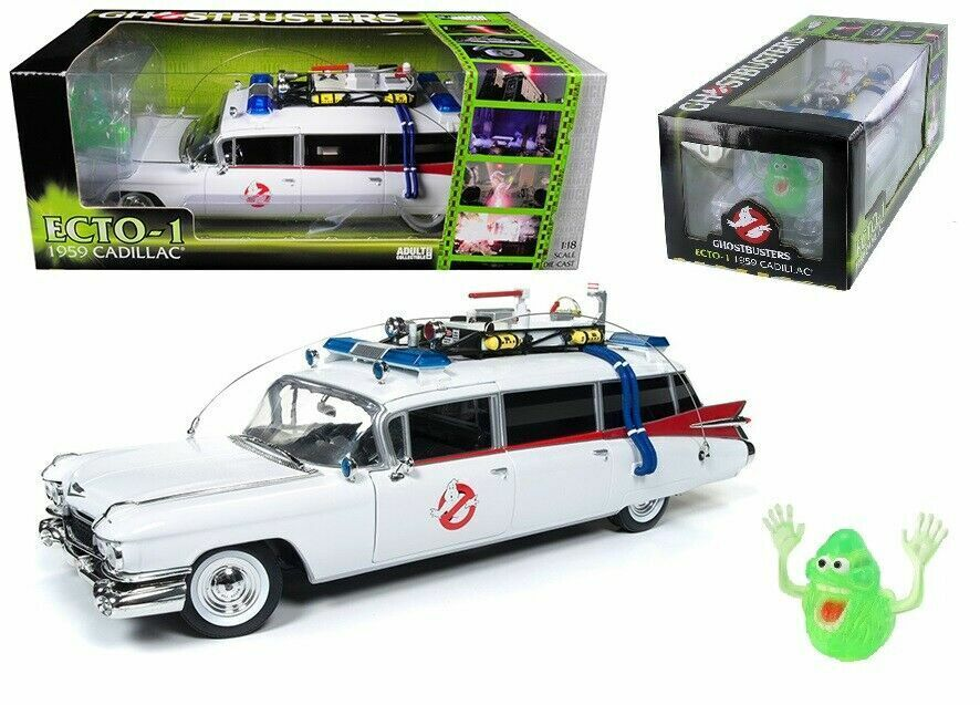 1 18 AutoWorld GHOSTBUSTERS ECTO - 1 Cadillac W Ghost 'Slimer'