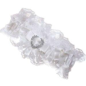 Bridal-Garters-Ribbon-Lace-Stocking-Suspenders-Leg-Fabric-Garter-White-Ribbon