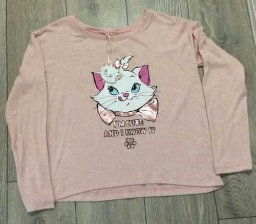 DISNEY PRIMARK ARISTOCATS THE CAT PINK PJ TOP SOFT TOUCH JUMPER BNWT XS 6-8 NEW