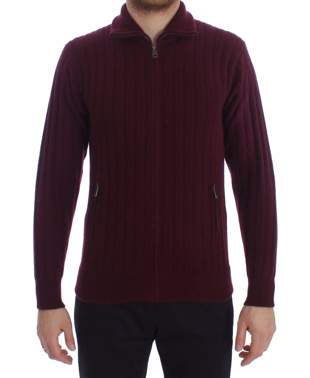 NEW DOLCE & GABBANA Sweater Cashmere Knitted Bordeaux Zipper s. IT44 / XS